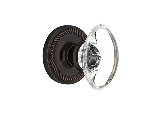 "Nostalgic Warehouse Rope Rosette with Oval Clear Crystal Glass Knob, Privacy - 2.375"", Timeless Bronze"