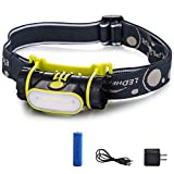 Super Tiger Motion Sensor LED Rechargeable Headlamp Adjustable and Waterproof COB Dimmable Floodlight For Hiking, Camping, Reading, Car Repairing
