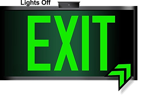 Photoluminescent Exit Sign Green Framed Flag/Ceiling Mount (Removable Arrows) Code Approved UL 924- IBC-NFPA