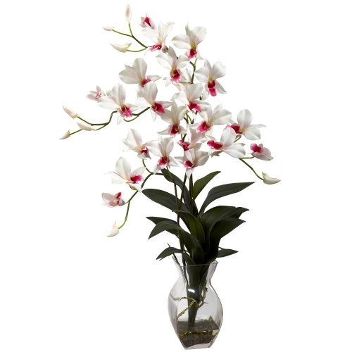 Nearly Natural 1292-WH Dendrobium Orchid with Vase Arrangement, White Dendrobium Silk Orchid Arrangement