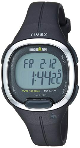 Timex Women's TW5M19600 Ironman Transit Mid-Size Black/Silver-Tone Resin Strap Watch (Resin Black Strap)