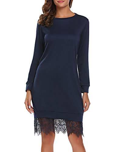 SE MIU Women O Neck Long Sleeve Loose Pleated Office Dress, Navy Blue, - M Miu
