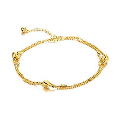 Hot KnBoB Anklet Women Gold Plated with Pendant Scrubs Circles Round Bead Beach Barefoot Foot Chain Gold hot sale