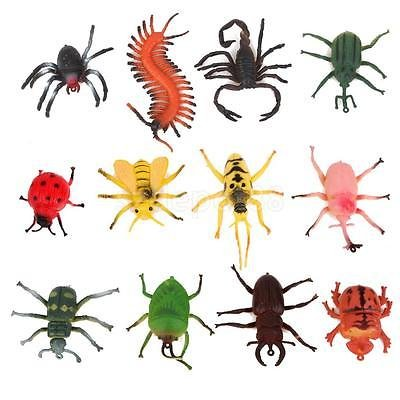 12pcs PLASTIC BUGS Creepy-Crawly ANIMALS PARTY BAG FILLERS KIDS GIFT INSECTS by uptogethertek