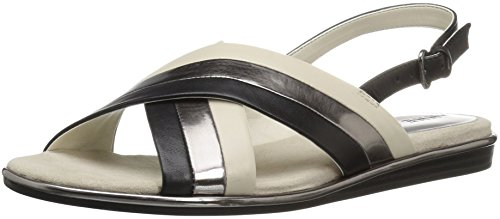 Anne Klein Women's Galea Leather Flat Sandal, Black, 7 M US