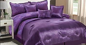 ensemble literie 7 pices luxe matelass couvre lit jacquard qualit pour lit double king lit - Dessus De Lit Violet