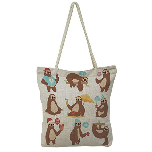 Handbag Cotton and linen shoulder bag Small and fresh literature and art,Sloth,Cute Hand Drawn Animal with Imperial Ancient Crown King of Laziness Theme Decorative,Aqua Bur dy Grey,Picture Print Desig