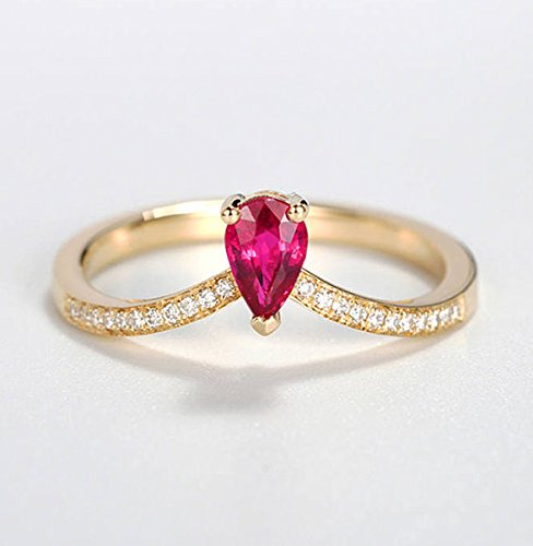 1ae29d681 4x6mm Pear Shaped Natural Genuine Red Ruby Engagement Ring Wedding Rings  Solid 14k Yellow Gold Diamond Chevron Half Eternity Antique Women Dainty ...