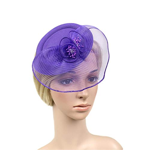 Suma-ma 6Colors -Women Beret Wedding Mesh Hat - Wedding Party Penny Ribbons Feathers Hat