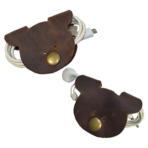 Bear Shaped Cord Keeper (Cord Clam) 2-Pack Handmade by Hide & Drink :: Bourbon Brown