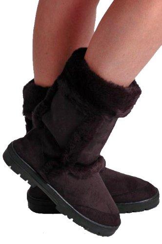 Warm Winter Suede Black Boots Fur Style EyeCatchShoes Womens 64qfzxwaxB