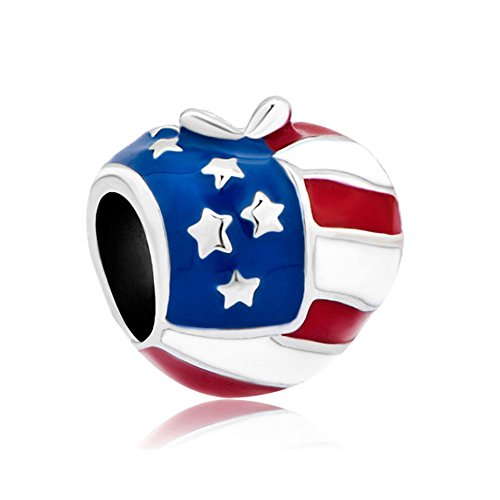 CharmsStory Sterling Silver Heart Love America Usa Flag Charms Beads Charms For Bracelets