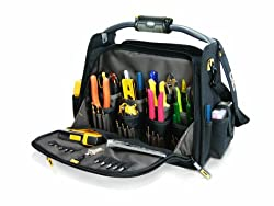 CLC Custom Leathercraft L245 18-Inch CLC Custom Leathercraft Tech Gear Dual Compartment Tool Carrier with LED Lighted Handle, 1-Pack