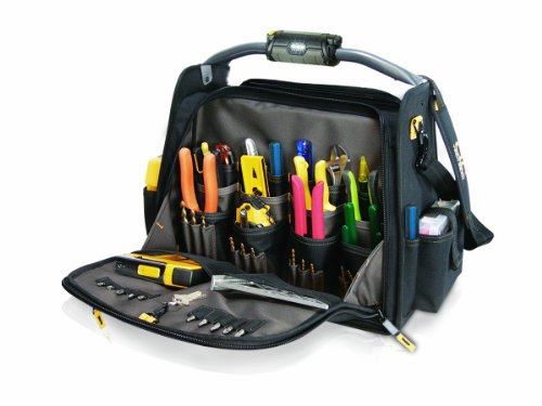 Custom Leathercraft L245 18-Inch CLC Tech Gear Dual Compartment Tool Carrier with LED Lighted Handle, 1-Pack