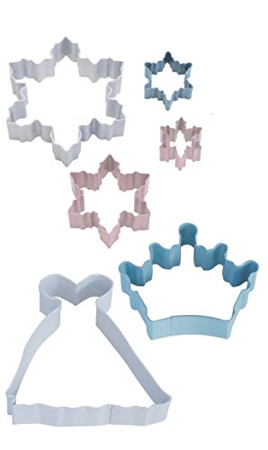 R&M International 1847 Snow Queen Cookie Cutters, Assorted Snowflakes, Crown, Princess Gown, 6-Piece Set (Elsa Cookie Cutter)