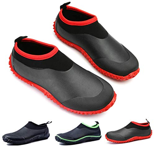 gracosy Rain Boots for Women Men, Waterproof Garden Shoes Beach Water Shoes Lightweight Walking Sneaker Car Wash Footwear Red-Black 11.5 M US Women / 9 M US Men