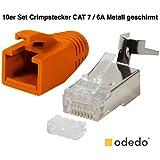 odedo® Lot de 10Fiche Orange Cat 7, Cat 7A, Cat 6a à sertir pour câble de pose à 8mm 10Gbit Ethernet Gigabit Starre ou brins 1.2mm-1.45mm Fiche RJ45Métal blindé flexible avec Passe-fil