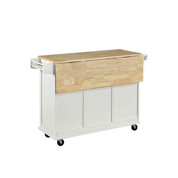 Home Styles Liberty Kitchen Cart with Wood Top - White