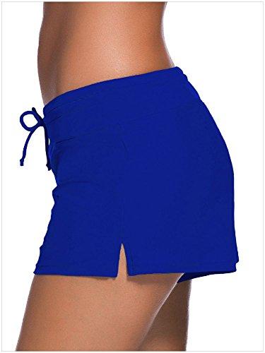 Minetom Mujeres Niñas Sólido Color Shorts Deportes Pantalones Cortos Yoga Braguitas Traje De Baño Playa Bikini Ropa Nadar Beach Azul