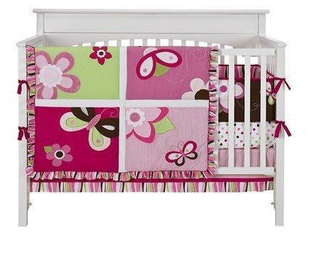 Tiddliwinks Raspberry Garden 3-pc. Crib Set