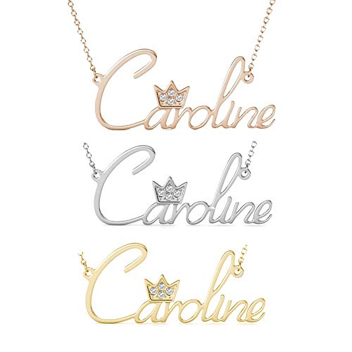 (Iprome Custom Name Necklace Personalized 18K Gold Nameplate Pendant Jewelry 14