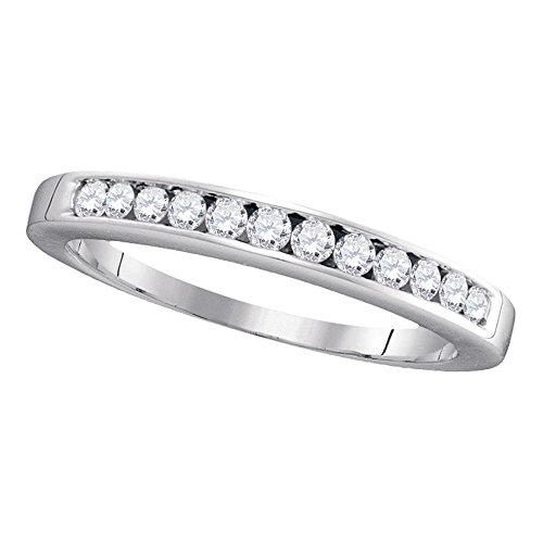 Size 10.5-14k White Gold Round Channel-set Diamond Single Row Wedding Band Anniversary Ring 1/4 (Elegant Diamond Wedding Bands)
