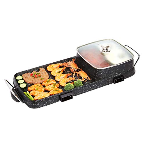 Portable Electric Grill, Electric Barbecue Multifunction Barbecue Pot Double Pot, Large Capacity Household Multifunctional Non-Stick Pan Electric Cooker with 5 Temperature adjustments (Color : C)