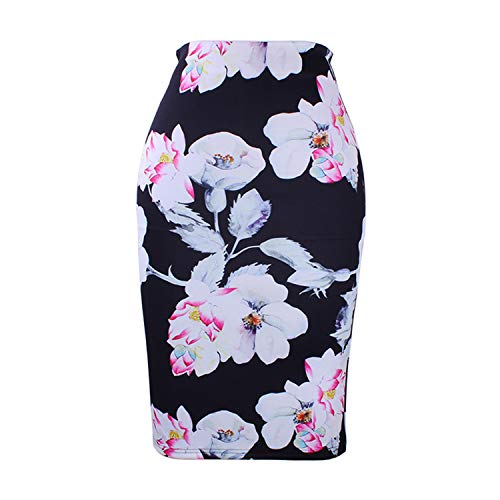 Western Fashion Gorgeous Golded Floral Print Women Pencil Skirts M-XXL Fashion Ladies Bodycon Saias Girls ()
