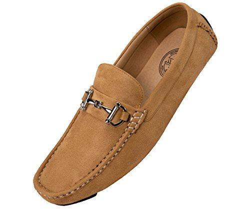 Amali Mens Plush Microfiber Faux Suede Slip On Loafer Driving Shoe with Buckle Style Walken Taupe