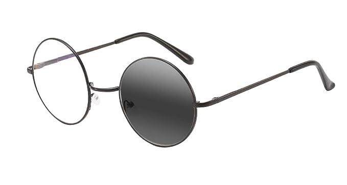60fea0c3389 Men Women Retro Round Brushed metal Oversized frame Photochromic Bifocal  Sun Reader Reading Glasses (Black