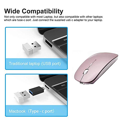 Rechargeable Wireless Mouse for Laptop Wireless Mouse for MacBook Pro MacBook Air Chomrebook Desktop Computer (Rose Gold)