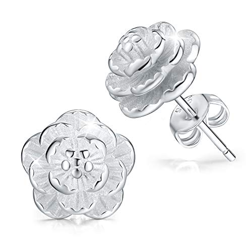 - Madeone ✦ Hypoallergenic 18K White Gold Plating 3D Rose Flower Stud Earring for Women with Box Packing