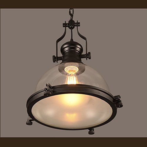 Motent Industrial Bell Shaped Glass 12.2 inches Dia Single Head Ceiling Lamp Shade Pendant Light Fixtures Set for Living Room Corridor Showrooms - with Openning Cover - Head Shaped Pendant