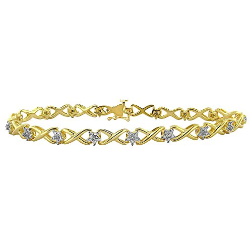 Yellow-plated 1/10ct TDW Diamond Bracelet (H-I, ()