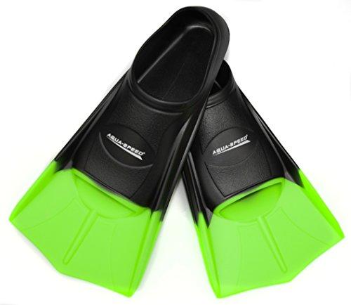 AQUA SPEED® HIGH TECH kurze Trainingsflossen Schwimmtraining Kurzflossen Gr. 33-48, Modell:schwarz/neon-grün/38;Größen:37/38