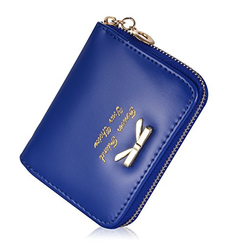 Leiwo Women's Short Leather With Bow Wallet Handbag Card Holder Purse Darkblue