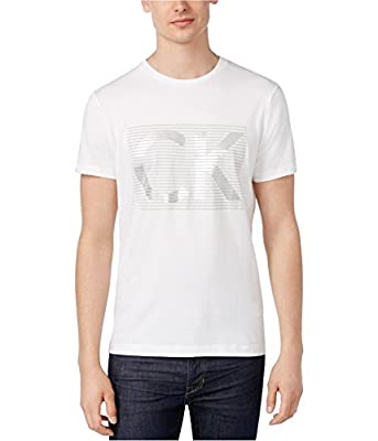 Calvin Klein Men's Box Stripe Logo Crew Neck T-Shirt