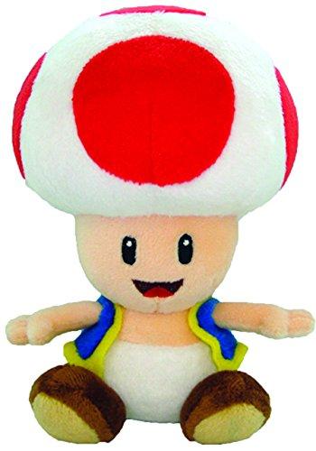 Toadstool Plush 7'' - Super Mario Bros Toadstool Mushroom Plushie Toy 7 Inch Tall (Super Mario Bros Mushroom)