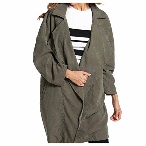 Women Coat Long Sleeve Solid Jacket Windbreaker Parka Outwear Fuibo Army Green