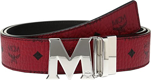 MCM  Men's Claus Reversible Silver Buckle Belt Ruby Red One Size by MCM
