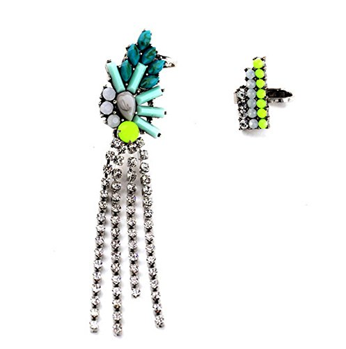 - P.phoebus 18K Yellow Gold Plated Turquoise Tassel Earrings Vintage Neon Green Swarovski Crystal Studs Rhinestones Dangle Charms Hoops for Women Girls (9)