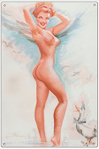Vintage Pin-Up Metal Plaque Angelic Pin-Up, Calendar Illustration, 1954 - By Earl Macherson, 8X12 Wall Decor