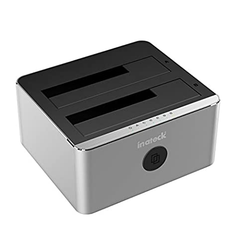 Inateck Aluminum USB 3.0 to SATA Dual-Bay USB 3.0 Hard Drive Docking Station with Offline Clone Function for 2.5 Inch & 3.5 Inch HDD SSD SATA (SATA I/ II/ III), Support UASP & (10tb Usb Hard Drive)