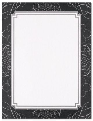 Masterpiece Studios Silver Paper - (Price/Pack)Masterpiece Studios 9720097 Black & Silver Scrolls Letterhead