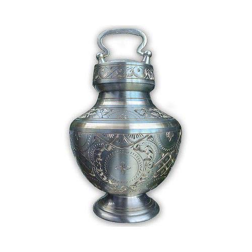 (Best Friend Services Elinora Pet Urn for Dogs and Cat Ashes, Hand Carved Brass Pet Cremation Urns (Nickle,)