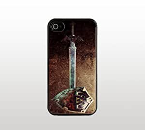 Legend of Zelda iPhone 4 4s Case - Hard Plastic Snap-On Custom Cover - Black - Hylian Shield and Sword