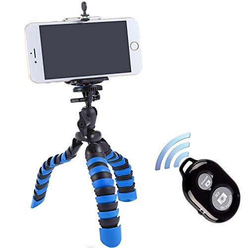Tripod, PEYOU® [Upgarded Version] 3 in 1 Octopus Style Portable and Adjustable Tripod Stand + Phone Mount Holder for iPhone X 8/8 Plus 7/7Plus SE Samsung Galaxy S8/S8 Plus S7/S7 Edge Note 5, Other Phones Width Between 55mm - 85mm + Bluetooth Wireless Remote Control Shutter