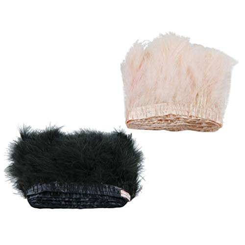 2X 4.7-6.3 Turkey Marabou Hackle Feather Fringe Trim Ribbon Sewing Crafts2m