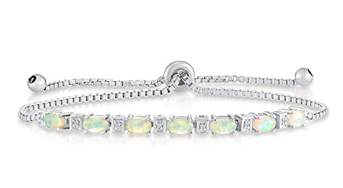 - Tilo Jewelry Sterling Silver Simulated Opal Adjustable Bracelet