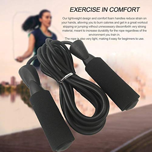 (MaxFox Adult Skipping Rope Cotton Sleeve Bearing Rubber Adjustable Length Exercise PVC Cord Jump Rope Speed Fitness Training with Foam Handle)